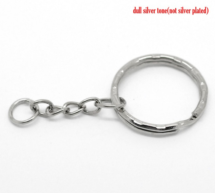10 Key Chains & Key Rings Antique Silver 5.3cm