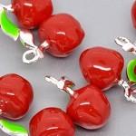10 x  enamel Apple pendant jewellery making teachers gifts