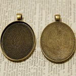 10 x Oval Shape Pendant Trays Bronze color 30X40mm