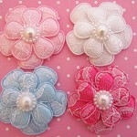 4 Pretty Padded Lace Flowers and Pearls- 4 Colours.