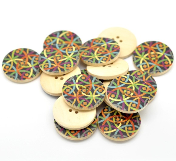 6 Bright and Funky Wooden Buttons