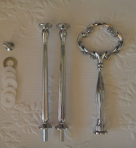 HEAVY Silver Clover Fitting / Cake Stand Handle 3 Tier Centre Hardware kit