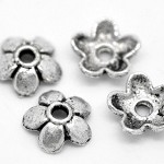 50 Antique Silver Flower Bead End Caps Findings 6mmx6mm