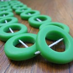 Resin Beads SOLID Lime MINI Jelly Donuts 1 x strand of 17