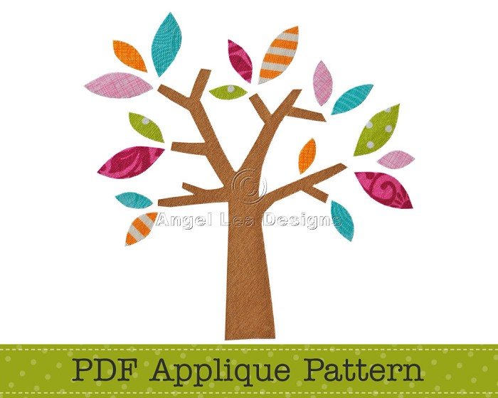 Tree Applique Template PDF Applique Pattern for Tree with Leaves