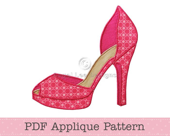 High Heel Shoe Applique Pattern Shoe Applique Template PDF