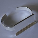 5 x Silver plated solid bangle with rectangle tray