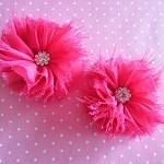 2 Ballerina Chiffon Rhinestone Flowers- Hot Pink