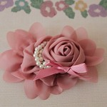 LARGE CHIFFON ROSE FLOWER WITH PEARLS -PINK