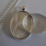 10 x DIY LARGE Oval silver plated pendant kit