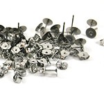 100 pairs x 5mm Silver Surgical Stainless Steel earring Posts and Butterfly Nuts