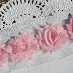 20 Baby Pink small shabby chiffon flowers - for millinery, craft and hairclips.
