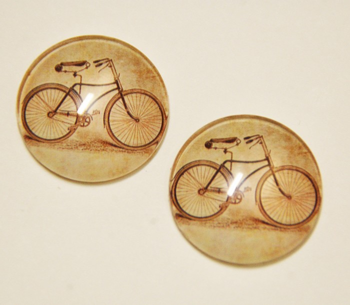 2 Handmade Vintage Bicycle Cobochon Glasses - 25mm