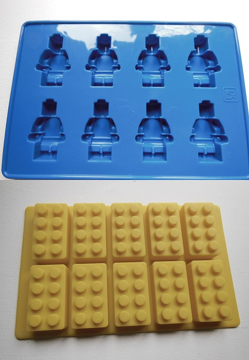 Lego brick AND minifigure silicone jelly chocolate ice cube mould ...
