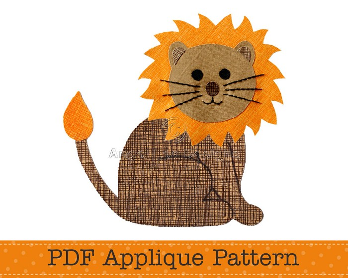 Lion Applique Template. PDF Template. Jungle Animal Applique Design, Children