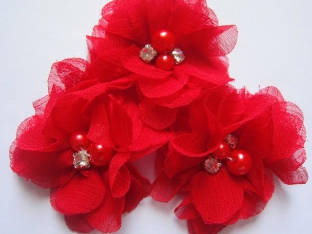 2 Chiffon Flower Rhinestone Pearl- Red