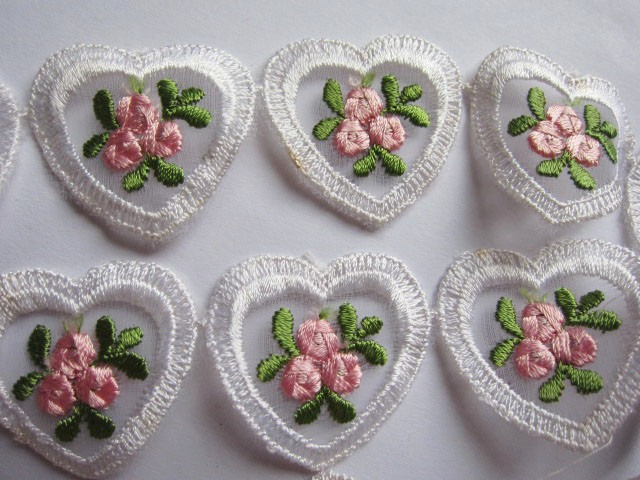 6 Embroidery Heart Embellishments