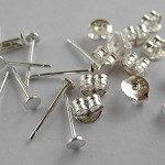 20pr Sterling Silver 3mm Earring Posts with backs