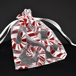 4 White Christmas Candy Cane Organza Gift Bags, With Draw String.