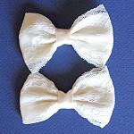 2 Cream Lace Bows