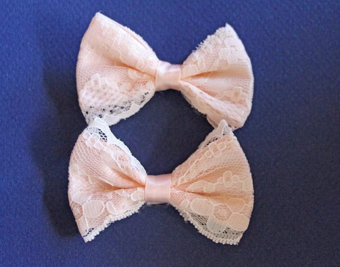 2 Peach Lace Bows