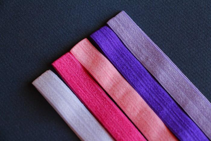 5 Pinks & Purples Soft Elastic Headbands
