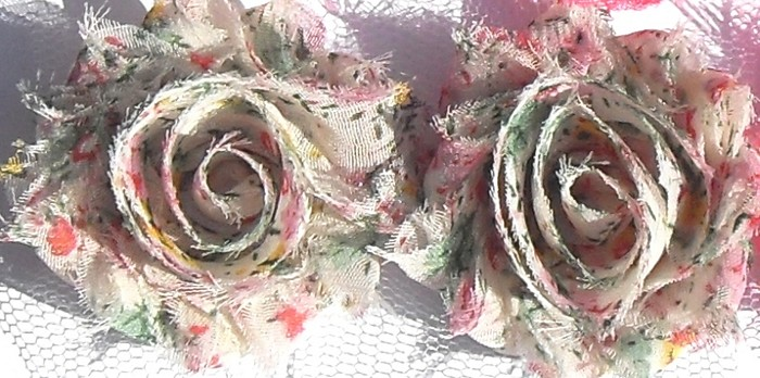 15 Tussie Mussie floral SMALL shabby chiffon rose flowers, for hairclips
