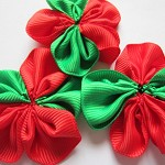 LAST SET 10 Red & Green  Ribbon Rosette Flower Christmas Embellishments