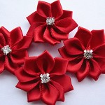 10 Red  Ribbon Rhinestone Flower Embellishments