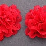2 Eyelet Chiffon Ruffle Lace Flowers- Red