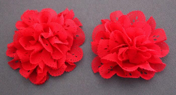 2 Eyelet Chiffon Ruffle Lace Flowers- Red