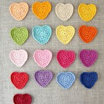 Pack of 5 crochet hearts in your choice of colours, orange, pink, blue, yellow