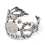 ~10 x adjustable silver tone filigree ring base/blanks with 8mm flat pad~
