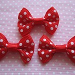 LAST SET 10 Polka Dot Ribbon Bows in Red