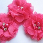 2 Chiffon Rhinestone & Pearl Peonie Flowers- Hot Pink