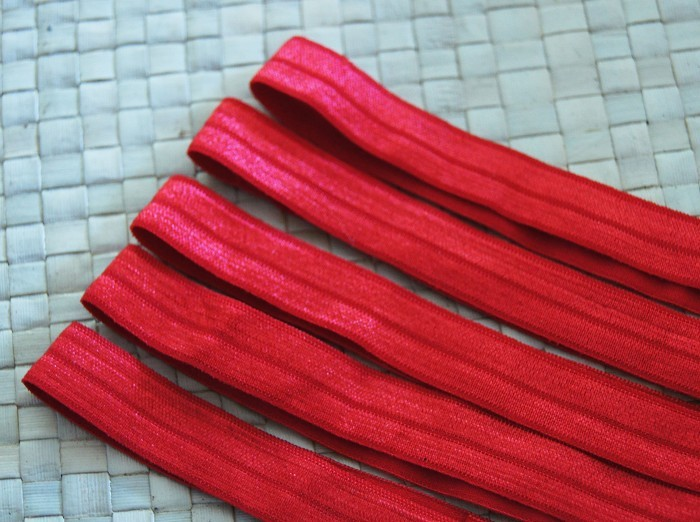 5 Red Soft Elastic Headbands