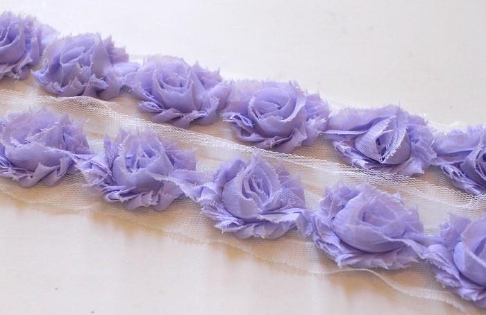14 MINI PALE LAVENDER SHABBY CHIFFON FLOWERS