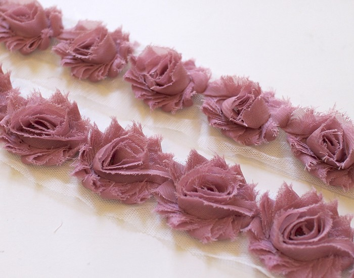 14 MINI DUSTY ROSE SHABBY CHIFFON FLOWERS