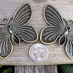 2 Large Brass Butterfly Pendants
