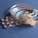 LAST SET 10 Silver Wire Bracelets with 12 mm Glass Cabs Kit.