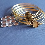 10  Antique Bronze Wire Bracelets with Glass Cabs Kit