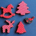 10 Christmas Assorted Fabric Covered Shapes.
