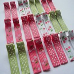 40% OFF! 24 Grosgrain Hairclips - PINK CHERRY & GREEN