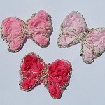 6 Fairy Wings chiffon butterflies with gold braid & sequins - for embellishment.