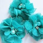 2 Chiffon Rhinestone & Pearl Peonie Flowers - Jade