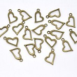10 Bronze Tone Heart Charms
