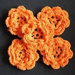 LAST SET 5 Orange Crochet Flowers