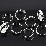 10 Silver Plated Adjustable Rings