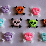 10 PACK - MIXED PADDED SKULL AND CROSS BONE EMBELLISHMENTS
