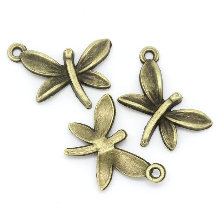 10 Charm Pendants Dragonfly Antique Bronze